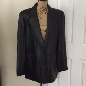Denim co black leather driving coat 1X